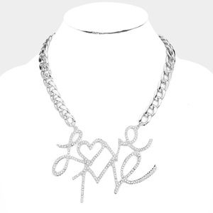 • Love Me Rhinestone Pave Metal Chain Necklace